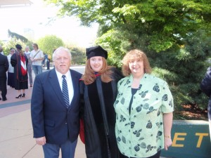Alison Reese and her proud parents celebrate her graduation from Seattle University School of Law. Photo courtesy of Alison.