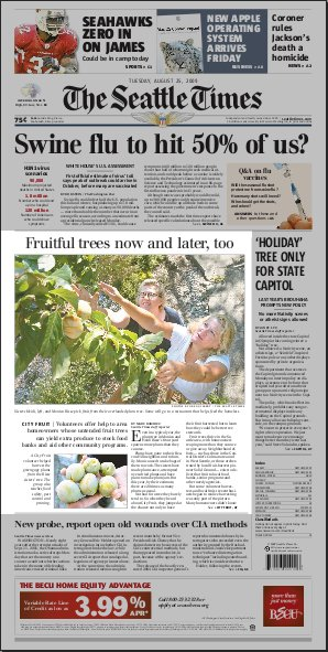 Nearly half the front page is devoted to the Risses' plum tree. From the Seattle Times front page PDF.