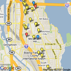 Recent scanner items from BHNW.org. Blue: casing activity; yellow: burglaries, thefts, and alarms; red: gunshots reported.