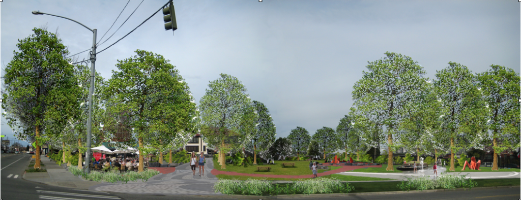 "A view of the potential ""Central Park"" for the Beacon Hill Station block."