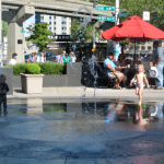 A fountain would be a possible feature in the park.