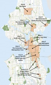 This map shows the 12 neighborhoods in the planned Gigabit Seattle demonstration project, including part of North Beacon Hill. Click to see a larger copy of the map.