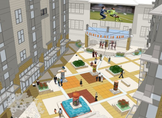 A proposed design for the plaza and stage at the Plaza Roberto Maestas project.