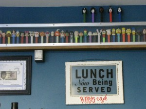 This Pez collection may be seen behind the counter at Pippy's. Photo by Wendi Dunlap/Beacon Hill Blog.