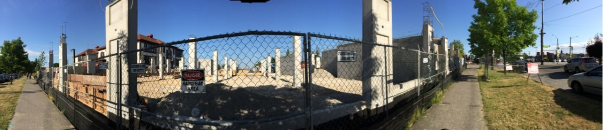 Panoramic view of the construction in the South Lot of El Centro de la Raza. Photo by Wendi Dunlap.